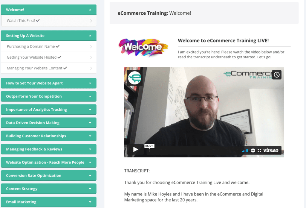 ecommerce training live video library